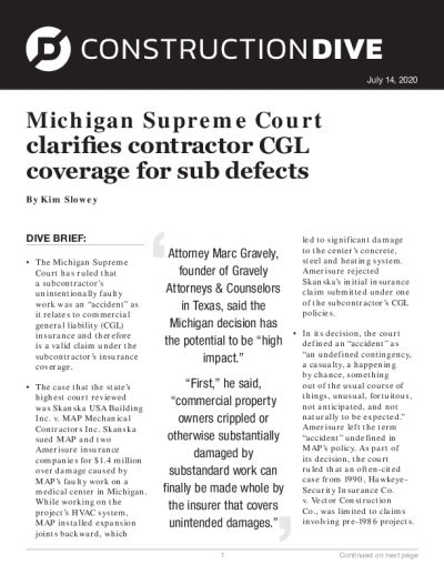 Michigan Supreme Court clarifies contractor CGL coverage for sub defects
