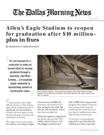 Allen's Eagle Stadium to reopen for graduation after $10 million-plus in fixes